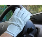 100% Leather Gloves - White